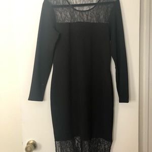 BCBGeneration Black Lace Midi Dress Sz M